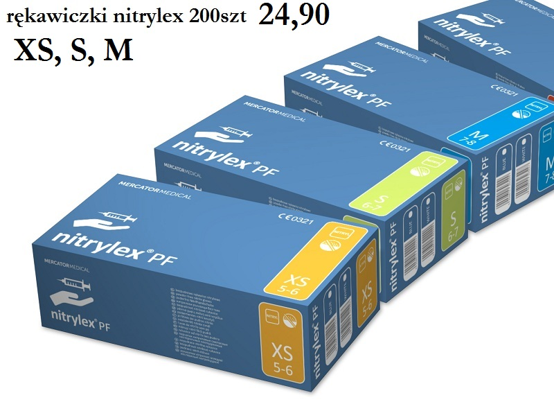 4c78bc1b622f6d XS rękawiczki nitrylowe XS 200 szt protect = basic niebieskie nitrylex pf  mercator medical XS