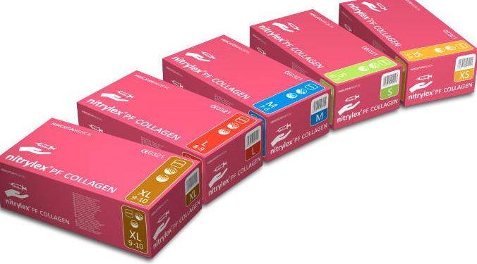 90446b55c517f9 rękawiczki nitrylowe bezpudrowe 100 szt różowe nitrylex pf collagen ...