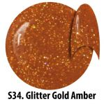 S34 Glitter Gold Amber żel kolorowy NTN 5g 5ml new technology nails