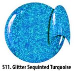 S11 Glitter Sequinted Turquoice żel kolorowy NTN 5g 5ml new technology nails